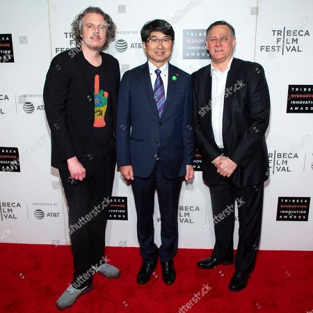 Cannon Hersey, Tomihasa Taue. Cannon Hersey, from left, honoree Tomihasa Taur and co-founder of the Tribeca Film Festival and the Tribeca Film Institute Craig Hatkoff attend the 10th annual Tribeca Disruptive Innovation Awards at the Stella Artois Theater, in New York