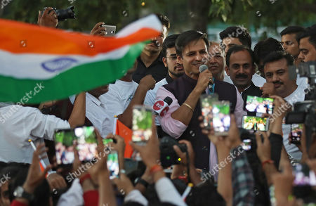 Indian actor Vivek Oberoi (C) speaks as he takes part in a support march for the Delhi Bharatiya Janata Party (BJP) candidates during election campaigning of BJP in New Delhi, India, 04 May 2019. Oberoi plays Indian PM Modi in controversion biopic on Modi and since turned a star campaigner for the BJP in the parliamentary elections. Elections for the Lok Sabha began on 11 April 2019 and are conducted in seven phases throughout India. Results are expected to be announced on 23 May.