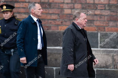 Danish Prime Minister Lars Lokke Rasmussen (R) attends a funeral service for the three children of Anders Holch Povlsen and his wife Anne at Aarhus Catherdral in Aarhus, Denmark, 04 May 2019. Three of the four children of Denmark's richest man, billionaire Anders Holch Povlsen were among the victims of the 21 April terror attacks at churches and hotels in Sri Lanka.