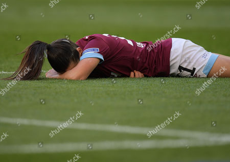 Claire Rafferty of West Ham United Women reacts after a collision with West Ham United Women Anna Moorhouse