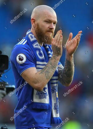 Aron Gunnarsson of Cardiff City says his goodbye to the Cardiff fans as he plays his final home game for the club