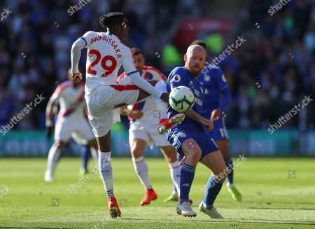 Aaron Wan-Bissaka of Crystal Palace and Aron Gunnarsson of Cardiff City in action