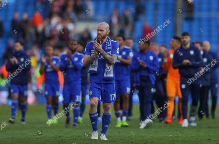 Aron Gunnarsson of Cardiff City shows a look of dejection at full time
