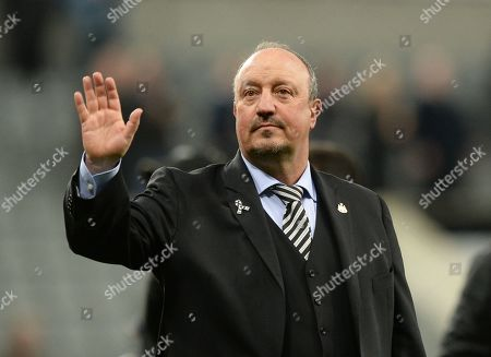 Rafa Benitez manager of Newcastle United waves to the fans on the lap of appreciation to thank them for their support throughout the season