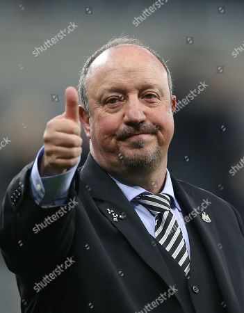 Newcastle United Rafa Benitez greets supporters after losing the English Premier League soccer match between Newcastle United and Liverpool FC at St James' Park in Newcastle, Britain, 04 May 2019.