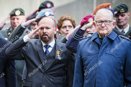 Pieter van Vollenhoven (R), husband of Dutch princess Margriet (unseen), and Veteran Dutch Marco Kroon, knights of the Militaire Willems-Orde (Military Order of William), during the Commemoration of Death on Military Field Grebbeberg on the Grebbeberg, The Netherlands, 04 May 2019. The ceremony commemorates civilians and members of the Dutch armed forces who have died in wars or peacekeeping missions since the outbreak of the Second World War.
