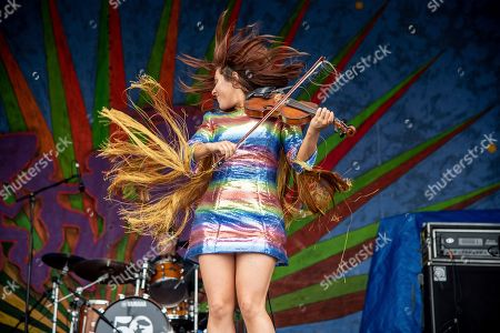 Stock Photo of Amanda Shaw performs at the New Orleans Jazz and Heritage Festival, in New Orleans