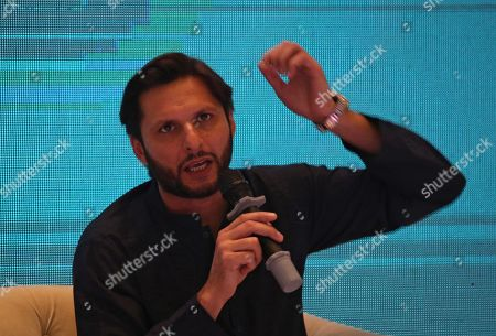 Shahid Afridi, Pakistani Cricketer speaks to supporters during an event in Karachi, Pakistan, 04 May 2019. Pakistan all-rounder star, Shahid Afridi, launched his autobiography ?Game Changer?  describing his marvelous career, some controversial secrets and honest opinions about the Pakistan national cricket team.