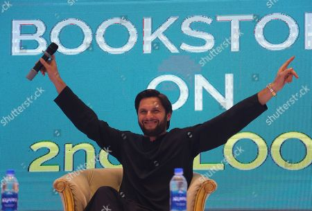 Shahid Afridi, Pakistani Cricketer talks to supporters during a ceremonyy to launch his autobiography in Karachi, Pakistan, 04 May 2019. Pakistan all-rounder star, Shahid Afridi, launched his autobiography ?Game Changer?  describing his marvelous career, some controversial secrets and honest opinions about the Pakistan national cricket team.