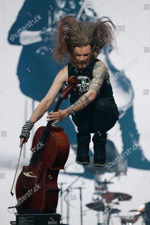 Perttu Kivilaakso of Apocalyptica performs at the Domination Music Festival in Mexico City
