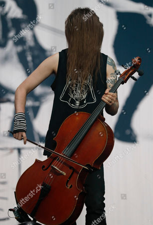Stock Image of Perttu Kivilaakso of Apocalyptica performs at the Domination Music Festival in Mexico City