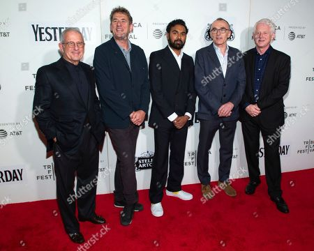 """Tim Bevan, Himesh Jitendra Patel, Danny Boyle, Richard Curtis. Producer Tim Bevan, second from left, actor Himesh Jitendra Patel, director Danny Boyle and producer/writer Richard Curtis attend the screening for """"Yesterday"""" during the 2019 Tribeca Film Festival at the Tribeca Performing Arts Center, in New York"""