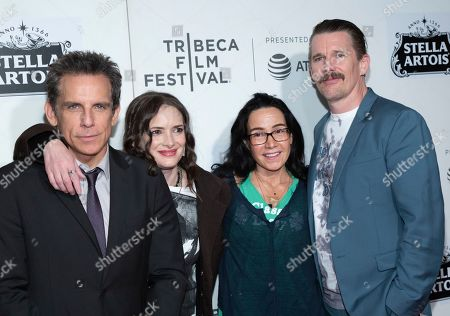 """Ben Stiller, Winona Ryder, Janeane Garofalo, Ethan Hawke. Ben Stiller, from left, Winona Ryder, Janeane Garofalo and Ethan Hawke attend the screening for """"Reality Bites - 25th Anniversary Reunion"""" during the 2019 Tribeca Film Festival at the Tribeca Performing Arts Center, in New York"""