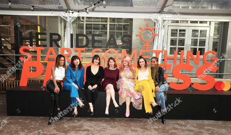 Breezy Dotson, Piera Gelardi, Bliss Lau, Cheryl Guerin, Kelsea Gaynor, Jaclyn Johnson, Coco Dotson in front of Her Ideas Start Something Priceless by Mastercard