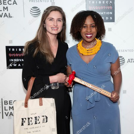 Lauren Bush Lauren, Ashley Edwards. Honorees Lauren Bush Lauren, left, and Ashley Edwards attend the 10th annual Tribeca Disruptive Innovation Awards at the Stella Artois Theater, in New York