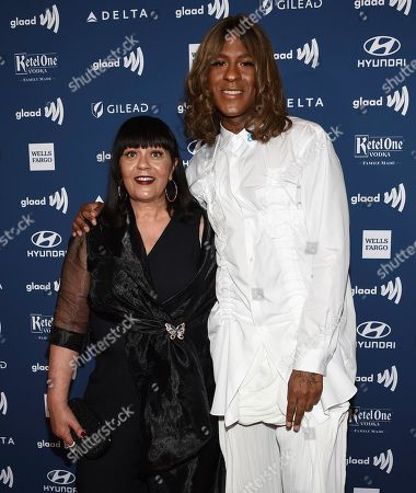 Mykki Blanco, right, and mother attend the 30th annual GLAAD Media Awards at the New York Hilton Midtown, in New York