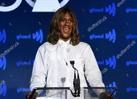 Mykki Blanco speaks about Madonna at the 30th annual GLAAD Media Awards at the New York Hilton Midtown, in New York