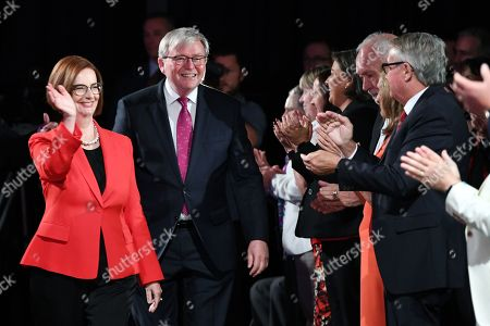 Former Australian Prime Ministers Julia Gillard (L) and Kevin Rudd (2-L) arrive for the Labor Party campaign launch for the 2019 Federal election at the Brisbane Convention Centre in Brisbane, Australia, 05 May 2019. A Federal election will be held in Australian on 18 May 2019.