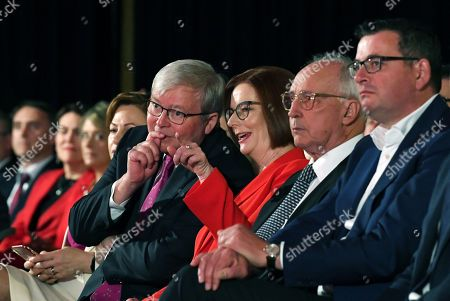 Former Australian Prime Ministers Julia Gillard (3-R), Kevin Rudd (4-R) and Paul Keating (2-R) attend the Labor Party campaign launch for the 2019 Federal election at the Brisbane Convention Centre in Brisbane, Australia, 05 May 2019. A Federal election will be held in Australian on 18 May 2019.