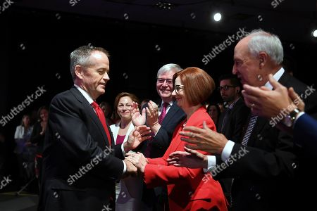 Australian Opposition Leader Bill Shorten (L) is welcomed by former Australian Prime Ministers Julia Gillard (2-R), Kevin Rudd (3-R) and Paul Keating (R) during the Labor Party campaign launch for the 2019 Federal election at the Brisbane Convention Centre in Brisbane, Australia, 05 May 2019. A Federal election will be held in Australian on 18 May 2019.