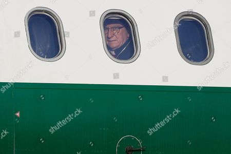 Vatican Secretary of State Pietro Parolin looks through the airplane window on the occasion of Pope Francis' three-day trip to Bulgaria and Macedonia at Rome's Fiumicino International airport