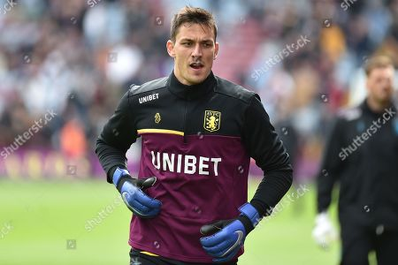 Stock Picture of Aston Villa goalkeeper Lovre Kalinic (28) warms up during the EFL Sky Bet Championship match between Aston Villa and Norwich City at Villa Park, Birmingham