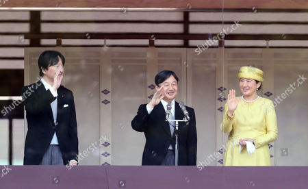 Japanese Emperor Naruhito accompanied by Empress Masako and his younger brother Prince Akishino waves his hand to wellwishers gathered for the celebration of enthronement of the new Emperor Naruhito. Former Emperor Akihito abdicated on April 30 and Crown Prince Naruhito ascended the throne on May 1.