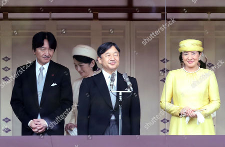 Japanese Emperor Naruhito accompanied by Empress Masako and his younger brother Prince Akishino arrives at the balcony to meet wellwishers gathered for the celebration of enthronement of the new Emperor Naruhito. Former Emperor Akihito abdicated on April 30 and Crown Prince Naruhito ascended the throne on May 1.