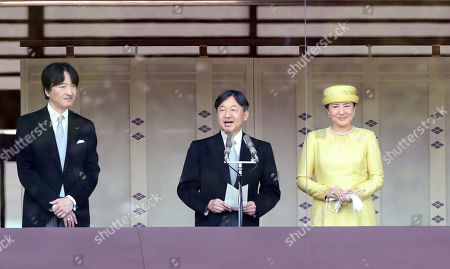 Stock Picture of Japanese Emperor Naruhito accompanied by Empress Masako and his younger brother Prince Akishino delivers a speech to wellwishers gathered for the celebration of enthronement of the new Emperor Naruhito. Former Emperor Akihito abdicated on April 30 and Crown Prince Naruhito ascended the throne on May 1.