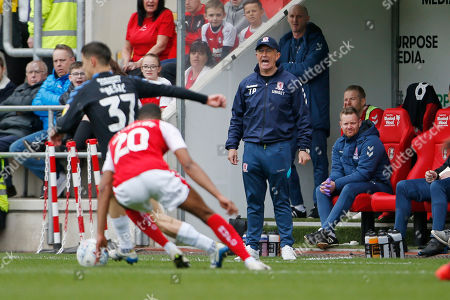 Middlesbrough Manager Tony Pulis during the EFL Sky Bet Championship match between Rotherham United and Middlesbrough at the AESSEAL New York Stadium, Rotherham
