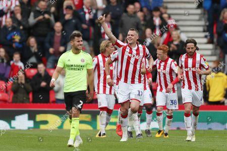 Ryan Shawcross of Stoke City celebrates scoring his sides second goal to make the score 2-1