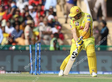 Shane Watson of Chennai Super Kings is bowled during the VIVO IPL T20 cricket match between Kings XI Punjab and Chennai Super Kings in Mohali, India