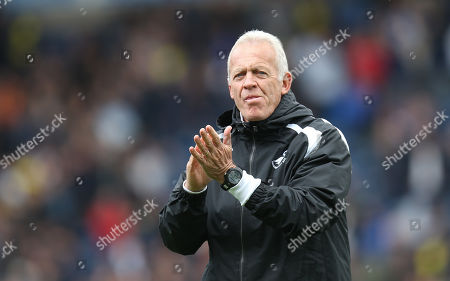 Swansea City's Alan Curtis applauds the travelling fans at the end of the match