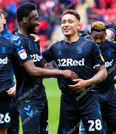 Mikel John Obi of Middlesbrough talks with Marcus Tavernier of Middlesbrough at full time