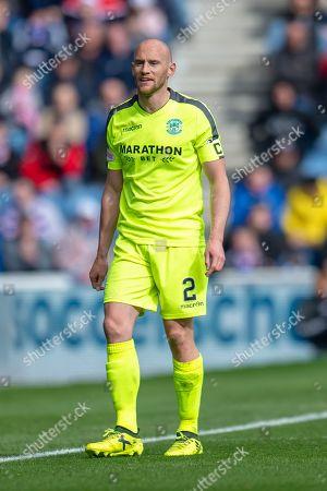 David Gray (#2) of Hibernian FC during the Ladbrokes Scottish Premiership match between Rangers FC and Hibernian FC at Ibrox, Glasgow