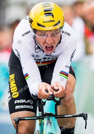 Tony Martin from Germany of team Jumbo-Visma in action during the fifth and last stage, a 16,85 km race against the clock at the 73th Tour de Romandie UCI ProTour cycling race in Geneva, Switzerland, 05 May 2019.
