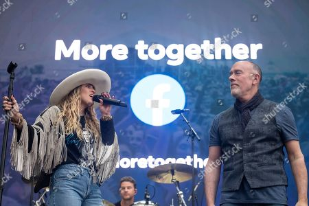 Miley Cyrus, Marc Cohn. Miley Cyrus performs a live surprise set to celebrate the launch of Facebook's new campaign, More Together, alongside Marc Cohn at the Beale Street Music Festival, in Memphis, Tenn