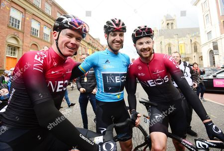 Chris Froome of Team Ineos, Christopher Lawless of Team Ineos in the blue jersey and Owain Doull of Team Ineos.