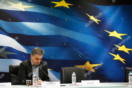 Greek Finance Minister Euclid Tsakalotos adresses to the journalists during a press conference to announce the package of positive measures, in Athens, Greece, 05 May 2019. The relevant draft law will be tabled in parliament over the next days and will include among others the framework for the 120-installment debt settlement to social security funds and the Tax Bureau.