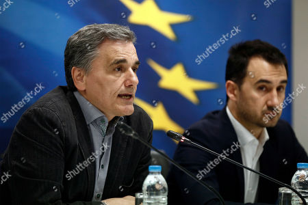 (L-R) Greek Finance Minister Euclid Tsakalotos, and Interior Minister Alexis Charitsis adress to the journalists during a press conference to announce the package of positive measures, in Athens, Greece, 05 May 2019. The relevant draft law will be tabled in parliament over the next days and will include among others the framework for the 120-installment debt settlement to social security funds and the Tax Bureau.