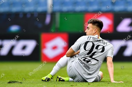 Roma's Stephan El Shaarawy reacts during the Italian Serie A soccer match between Genoa CFC and AS Roma at the Luigi Ferraris stadium in Genoa, Italy, 05 May 2019.