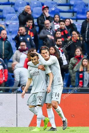 Stock Photo of Roma's Stephan El Shaarawy (L) celebrates with teammate Patrik Schick after scoring during the Italian Serie A soccer match between Genoa CFC and AS Roma at the Luigi Ferraris stadium in Genoa, Italy, 05 May 2019.