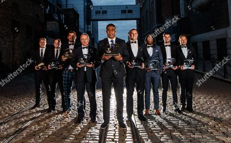 (L-R) Gilbert Golden Boot, Jaco van der Walt of Edinburgh Rugby, Dacia Iron Man, Tian Schoeman (not present) accepted by Tian Meyer of Toyota Cheetahs, Guinness PRO14 Chairman's Award Ross Ford ( not present) accepted by Stuart McInally of Edinburgh, Guinness PRO14 Coach of the Season Kieran Crowley of Benetton Rugby, Guinness Players' Player of the Season Bill Mata of Edinburgh Rugby, Ronseal Tackle Machine James King of Ospreys, SportPesa Top-Try scorer Award Rabz Maxwane of Toyota Cheetahs, Energia Next-Gen Star of the Season Award Adam Hastings of Glasgow Warriors and Big Red Cloud Turnover King Olly Robinson off Cardiff Blues
