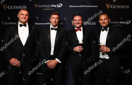 Ospreys' James King and Justin Tipuric with Ken Owens of Scarlets and Olly Robinson of Cardiff Blues
