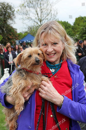 Stock Photo of Judge Liza Goddard with her Yorkshire Terrier, Violet, at the All Dogs Matter Bark Off charity dog show, Hampstead Heath, London, England. Cute dogs took part in several categories of this annual dog show which is run by the charity which houses and rehomes dogs in London and finds homes for dogs from overseas. Dogs competed to be cutest pup, best rescue and more. More information at www.alldogsmatter.co.uk