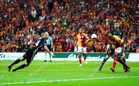Domagoj Vida of Besiktas heading on goal during the Turkish Super Lig match between Galatasaray S.K. and Besiktas at the Türk Telekom Arena in Istanbul , Turkey