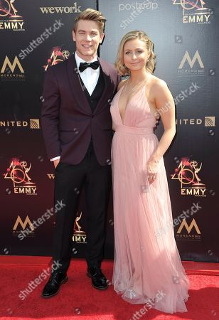 Lucas Adams, Shelby Wulfert arrive at the 46th annual Daytime Emmy Awards at the Pasadena Civic Center, in Pasadena, Calif