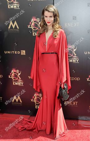 Linsey Godfrey arrives at the 46th annual Daytime Emmy Awards at the Pasadena Civic Center, in Pasadena, Calif