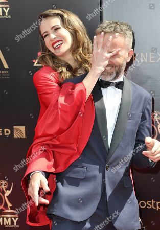Linsey Godfrey, Breckin Meyer. Linsey Godfrey, left, and Breckin Meyer arrive at the 46th annual Daytime Emmy Awards at the Pasadena Civic Center, in Pasadena, Calif