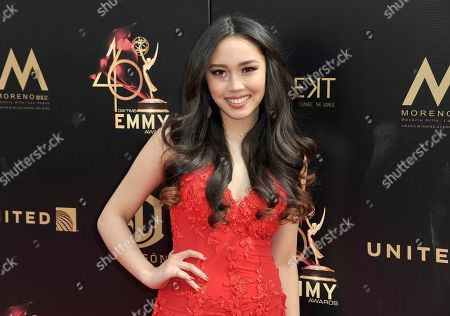Thia Megia arrives at the 46th annual Daytime Emmy Awards at the Pasadena Civic Center, in Pasadena, Calif
